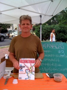 Chris Hoge of Bethesda Maryland sells Washington's best Blue Crab meat at the Foggy Bottom Market, pictured, and TODAY, at the new Vermont Avenue Market by the White House. Yum!