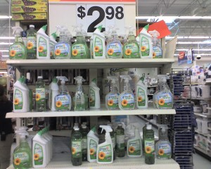 A large selection of Clorox GreenWorks products at a Walmart -- all for $2.98 per bottle.