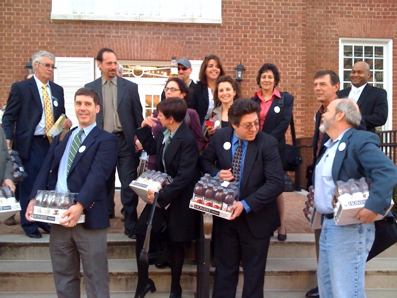 The Bethesda Green Delegation was sure to snap a pic of Bethesda's own Honest Tea on the steps of the State Capitol