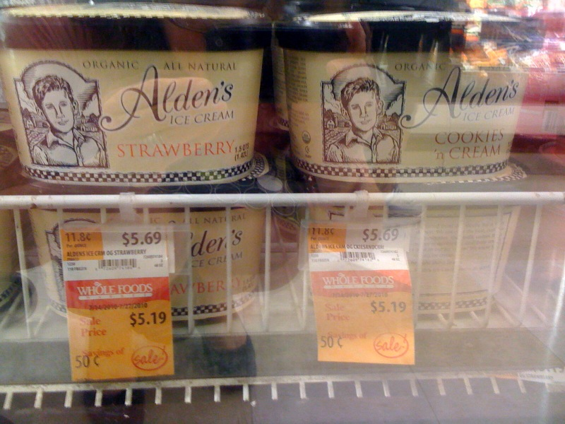 Alden's organic ice cream on sale at Whole Foods