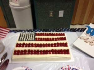 American flag cake at Katie Ledecky watch party