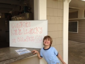 Palisades Pool Sign Congratulating Katie Ledecky